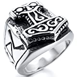 (US) INBLUE Men's Stainless Steel Ring Silver Tone Black Size8