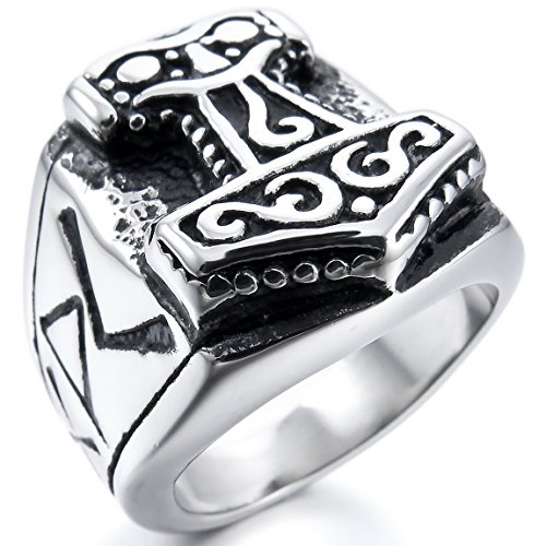 [INBLUE Men's Stainless Steel Ring Silver Tone Black Size9] (Unique Costume Jewelry Rings)
