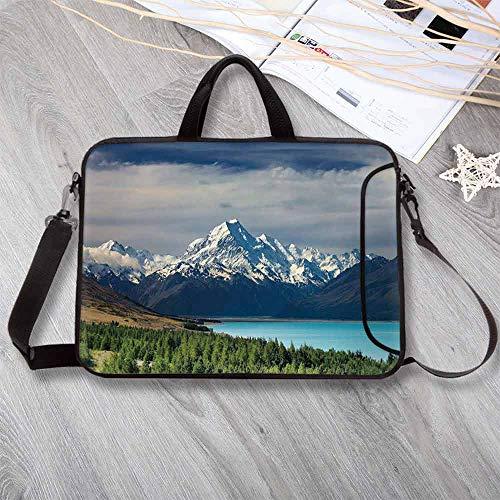 - Landscape Waterproof Neoprene Laptop Bag,Mount Cook and Pukaki Lake in New Zeland Landmark Scenic Scenery Forest Laptop Bag for Business Casual or School,14.6