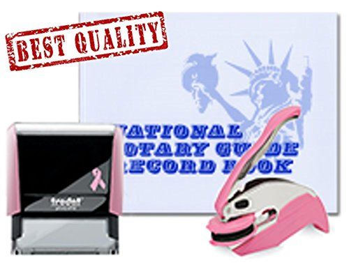 Best Stamp National - 3 Product Breast Cancer Awareness Notary Supplies Value Package | Trodat Ideal Seal Embosser, Pink Trodat 4913 Stamp, National Notary Guide Record Book | Alabama