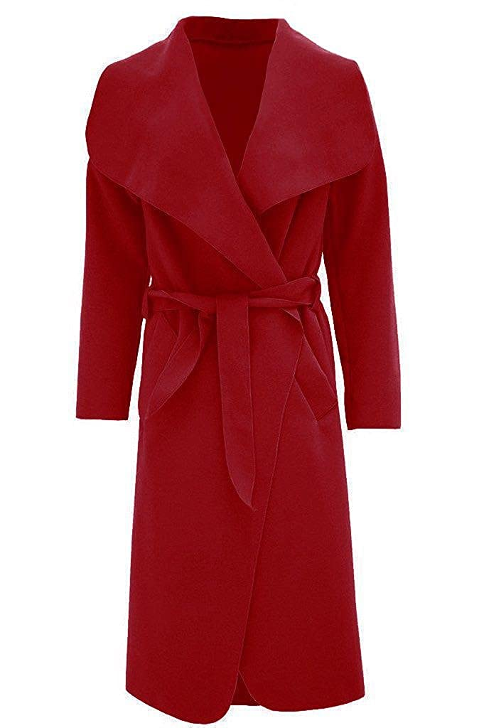 Hi Fashionz Girls Ladies Women Long Waterfall Italian Duster Belted Coat Jacket Drape