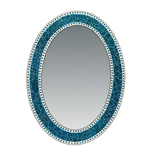 . Decorative Wall Mirror, Oval Frame, Colorful Crackled Glass Mosaic
