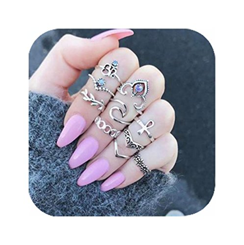 Cyntan Statement Ring Set Boho Crown Cross Midi Finger Knuckle Rings For Girls 10 Pcs/Set