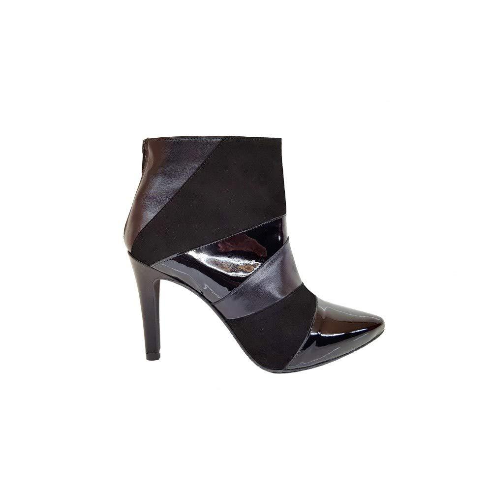 Gennia MARAVILLA Nappa Velourleder Lackleder Schwarz - Damen Stiefel & Stiefeletten, aus Glattleder gemacht, Absatz Stiletto, höhe 9 cm