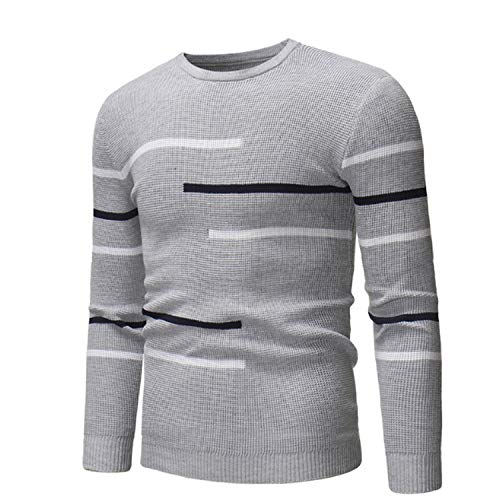 En Hommes Luckyod Casual O Homme Automne neck Gray Pull Shirt Laine Vêtements 55qpAwY