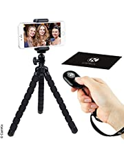 Camkix Flexible Octopus Style Tripod and Bluetooth Remote Control Camera Shutter - Use for Video Calls, Online Meetings, Vlogs, Live Streaming, E-Learning - Take Photos and Videos Wirelessly