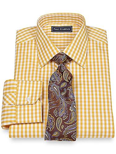 Paul Fredrick Men's 2-Ply Cotton Pinpoint Spread Collar Dress Shirt Gold 18.0/34