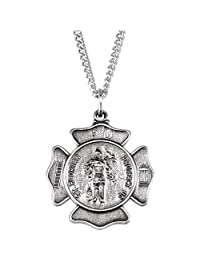 """Sterling Silver 25.25mm St. Florian 24"""" Necklace"""