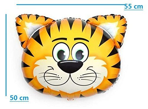 Safari Jungle Zoo Huge Animal head Balloon Jumbo Balloons Zebra, Tiger, Lions, Giraffe & Monkey with 20pcs 11'' latex Safari Print Party Supply foci cozi by foci cozi (Image #4)