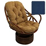 Bali Rattan Papasan Swivel Rocker with Cushion - Solid Microsuede Fabric, Indigo
