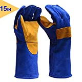 E-life easylife Premium Heat Resistant Gloves, Heavy Duty Leather Gloves Cotton Liner Kitchen Gloves for Gardening, Stove, Campfires and Outdoor Working, Blue