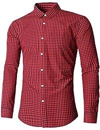 Men Plaid Cotton Casual Slim Fit Long Sleeve Button Down Dress Shirts