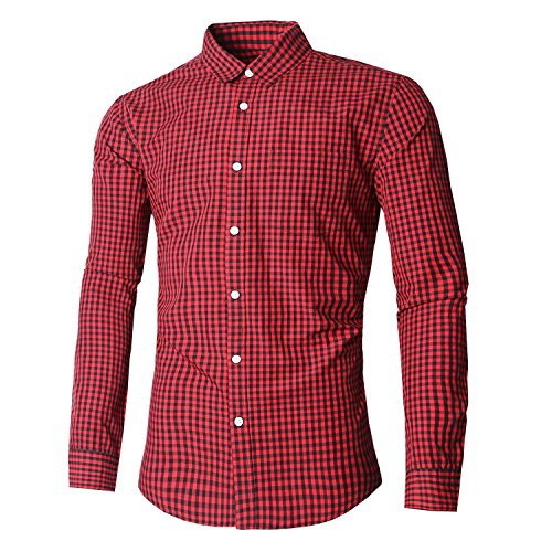 NUTEXROL Mens Dress Shirts Plaid Cotton Classic Slim Fit Long Sleeve Shirts Red&Black S