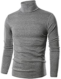 Ohoo Mens Slim Fit Soft Cotton Pullover Light Turtleneck