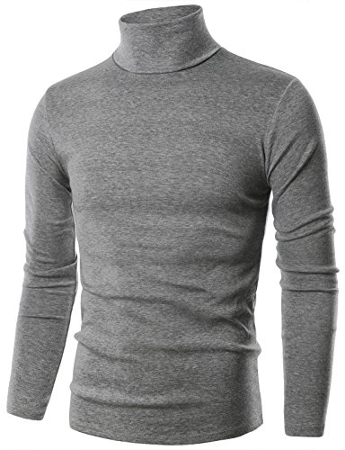Ohoo Mens Slim Fit Flice Long Sleeve Pullover Flice Turtleneck /DCT005-DEEPGREY-M