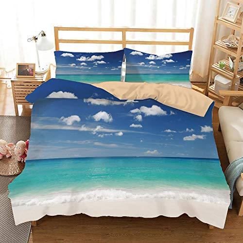 (Tropical Khaki Duvet Cover Set Twin Size,Summer Beach with Exquisite Sky Relax Holiday Away Serene Coast Scenery,Decorative 3 Piece Bedding Set with 2 Pillow Shams,Blue Turquoise White)