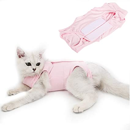 M Professional Pet Recovery Suit Protective Pet Coat After Surgery Pet Clothing E-Collar Alternative for Cats for Abdominal Wounds Skin Diseases Surgery Cat Recovery Suit