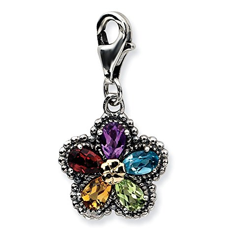 Sterling Silver w/14k Antiqued Gemstone Flower w/Lobster Clasp (14k Gemstone Brooch)