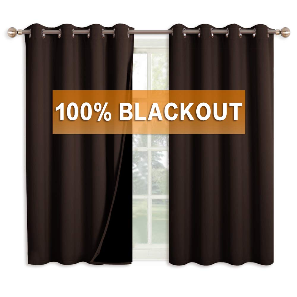 RYB HOME Kitchen Curtains Blackout - 100% Black Out Curtains for Bedroom  Window Decorating, Thermal Insulated Energy Saving Short Curtain Panels for  ...