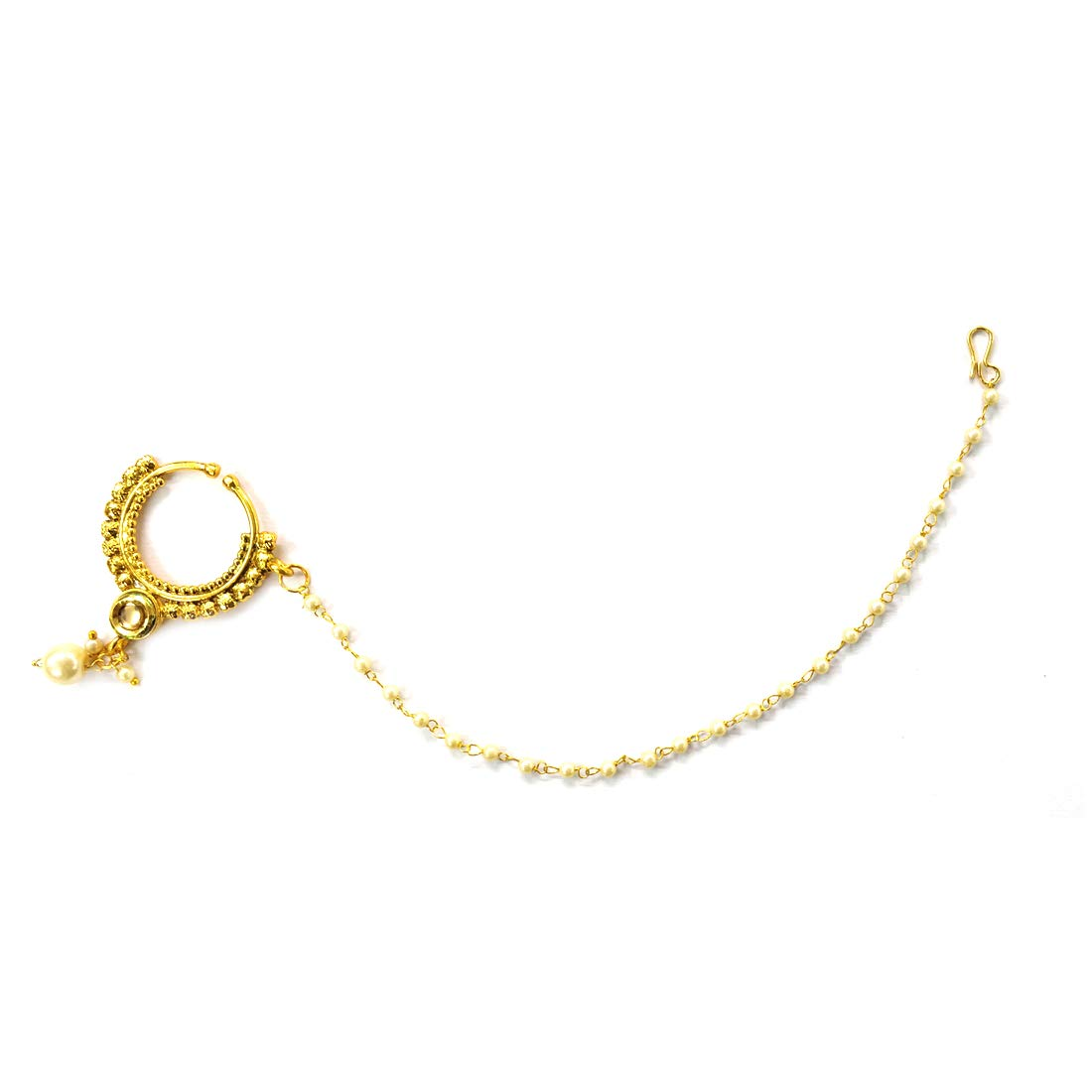 Buy Indian Mores Traditional Gold Plated Bridal Jewellery Nose
