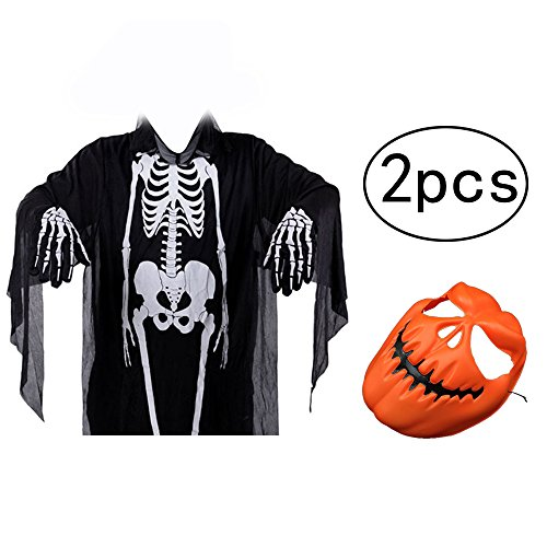 [ZSTVIVA Halloween Decor, Costumes Skull Clothes Unisex Scary Ghost Clothes for Aldult Man Women with One Pumpkin Yellow Horrible Mask for Party Celebration] (Simple Halloween Costumes Scary)