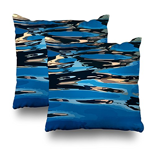 KJONG Sunset Reflection Zippered Pillow Cover,18X18 inch Square Decorative Throw Pillow Case Fashion Style Cushion Covers(Two Sides Print)(Set of 2)