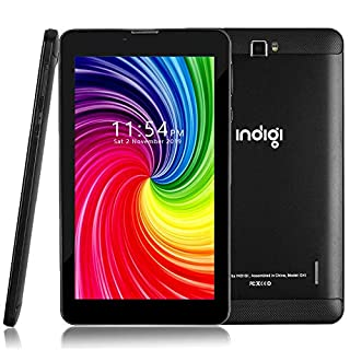 Indigi GSM Unlocked 4G LTE 7.0in Official Android Pie Pie TabletPC & Smartphone (2SIM + Quad-Core + Google Play Store) (Black)