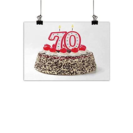 Amazon Anzhutwelve 70th Birthday Abstract Painting Cake With 70 Number Candles And Sprinkles Party Event Photo Image Natural Art Multicolor