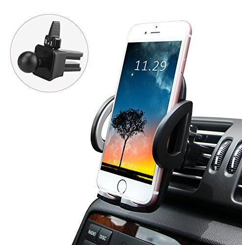 LUXEAR Universal Car Vent Cradle Mobile Phone Holder Mount with 360 Degree Rotation for iPhone X 8 8 Plus 7 7 Plus SE 6s Plus 6 Plus 5s 5 Samsung Galaxy Series LG Nexus and More, Black