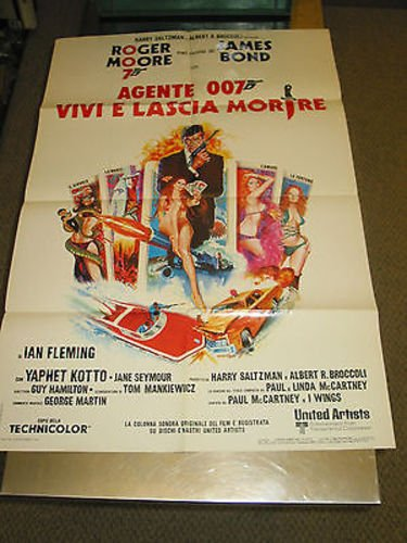 LIVE AND LET DIE/ORIG. ITALIAN MOVIE POSTER (JAMES BOND/ROGER MOORE)