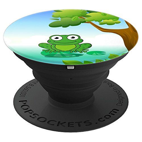 Happy Green Frog on Lily Pad Cartoon Toad for Kids - PopSockets Grip and Stand for Phones and Tablets
