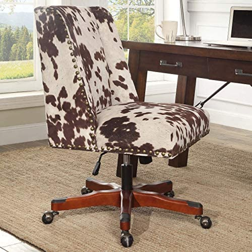Linon Violet Office Plush Brown/White Cow Print Chair