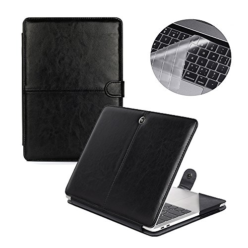 Se7enline Macbook Pro 15 2016 2017 2018 Case Premium Quality PU Leather Book Cover Folio Case Carry Sleeve for Macbook Pro 15 inch A1707/A1990 with Touch Bar and Touch ID with Keyboard Cover, Black