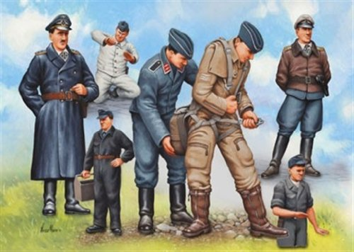 Wwii Luftwaffe Pilot - WWII Luftwaffe Pilots & Ground Crew (7) 1/48 Revell Germany