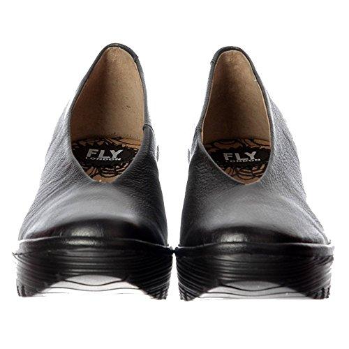 Cuña De Yaz De Damas De Fly London Las Mujeres Alrededor Del Dedo Del Pie Trabajo Escuela Zapato Corte Córdoba Negro, De La Exclusiva De Tacón Bajo Enlistonada Rojo Negro