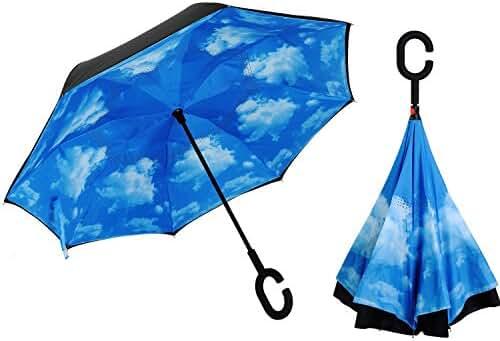 Alink Inside Out Reverse Folding Umbrella, Large Double Layer Outdoor Rain & Sun Inverted Open & Close No Drip Umbrella