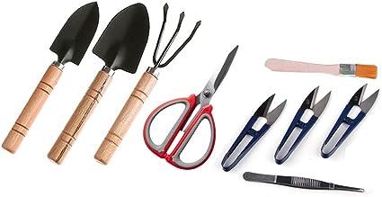 Amazon Com Zelarman Bonsai Tools Kit Garden Tool Set Of 9 Pcs With Pruning Shears Scissors Tweezers Cleaning Brush Mini Rake Spades Garden Outdoor