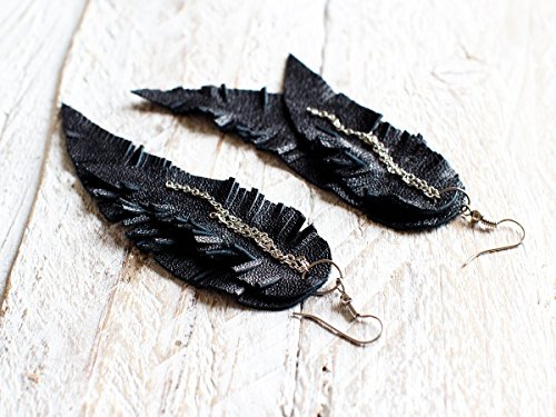 Black Feather Leather Earrings, layered earrings, tribal Earrings, Boho earrings, dangle earrings, long earrings