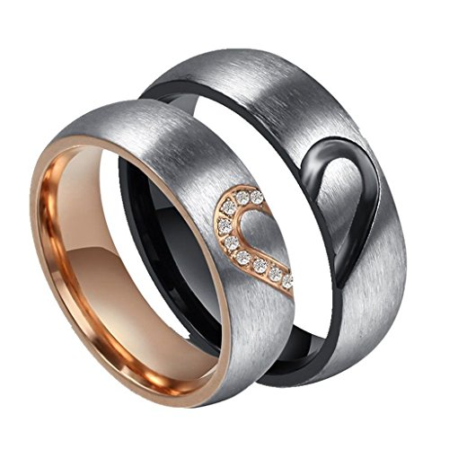 ROWAG 6MM Men Heart Shape Titanium Stainless Steel Couple Wedding Rings for Him and Her Women Cubic Zirconia