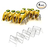 Taco Holder, Taco Stand, Taco Rack Tray-Premium 18/8 Stainless Steel- Grill, Oven and Dishwasher Safe- Taco Holders or Soft Shell Tacos- Wave Shape Tool Restaurant Food Show