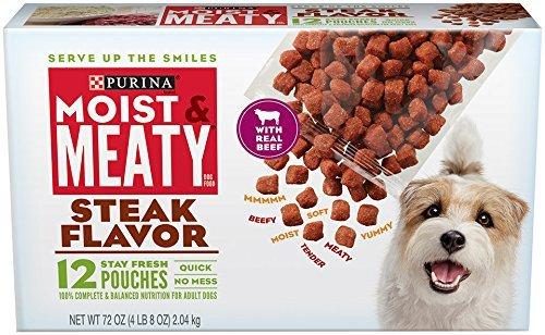 Purina Moist & Meaty Steak Flavor Dog Food 12 Stay Fresh Pouches ()