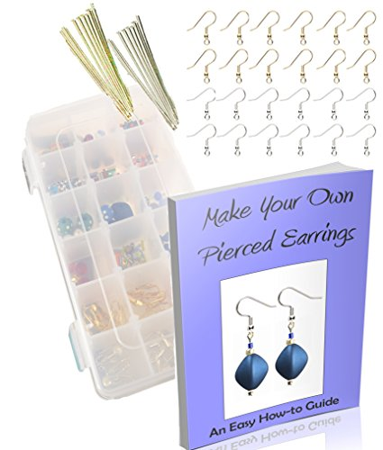 Make Your Own Pierced Earrings Jewelry Kit-Supplies, Findings-Create Earrings: Beads, Hooks, How To Guide