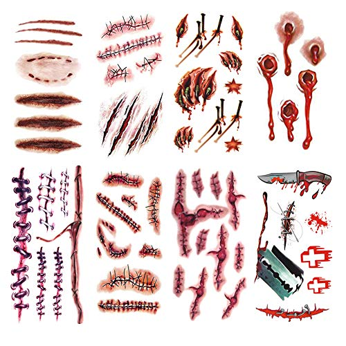 Temporary Tattoos Halloween Tattoos Costumes Fake Scars Tattoos Halloween Injury Blood Wound Makeup for Party Horror Cosplay Costume 8 Sheets]()