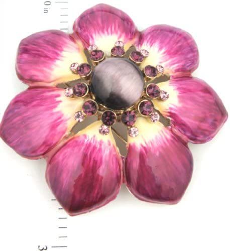 2.75 Flower Amethyst Colored Enamel Tiger Eye Center with Amethyst Colored Crystals