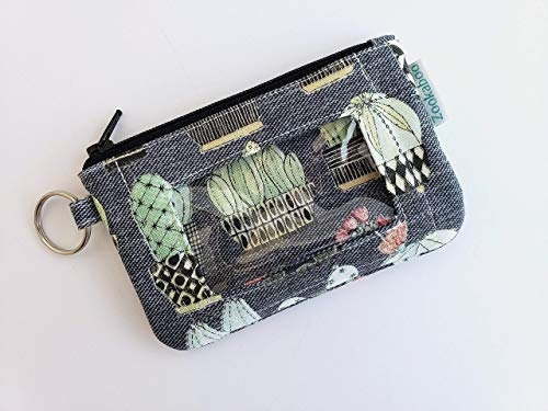 Student ID Card Holder Keychain Cactus Wallet