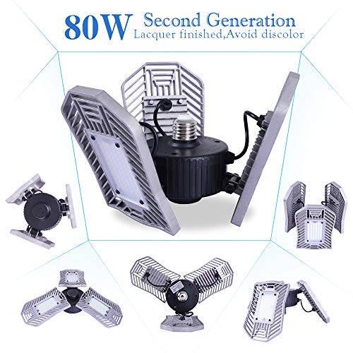 80w Motion Sensor Light 8000LM, Garage Motion Sensor Light Indoor,Motion Activated Garage Ceiling Light,E26 led Bulbs for Garage,Led Motion Bulb,Garage Packing Sensor(Daylight,80WRadar)