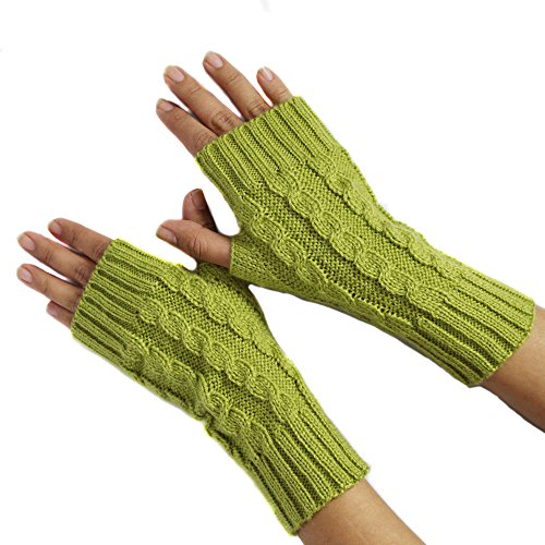 (FINGERLESS MITTENS GLOVES Alpaca Wool made in PERU OLIVE)