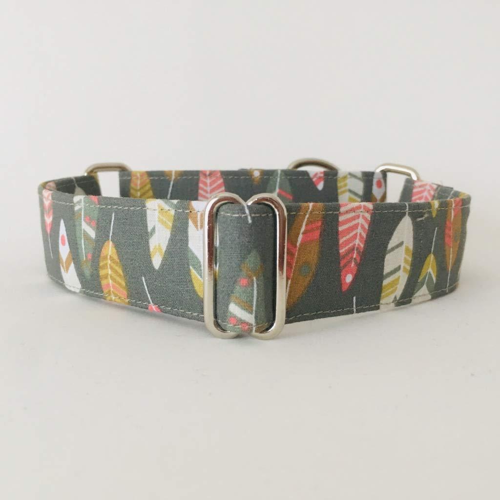 Collar Martingale para Perro Hecho a mano en España - Modelo Plumas indio verdes: Amazon.es: Handmade