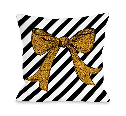 """One Bella Casa Gold Glitter Bow/Gold Glitter Throw Pillow Cover by Timree Gold, 18""""x 18"""" from One Bella Casa"""