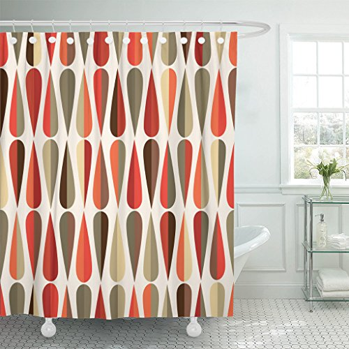 TOMPOP Shower Curtain Mid Century Modern Retro Drop Shapes in Waterproof Polyester Fabric 60 x 72 Inches Set with Hooks ()